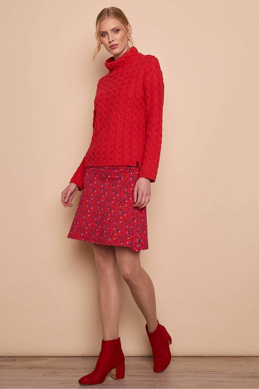 Pull rouge tricoté tranquillo. matiere ecologique