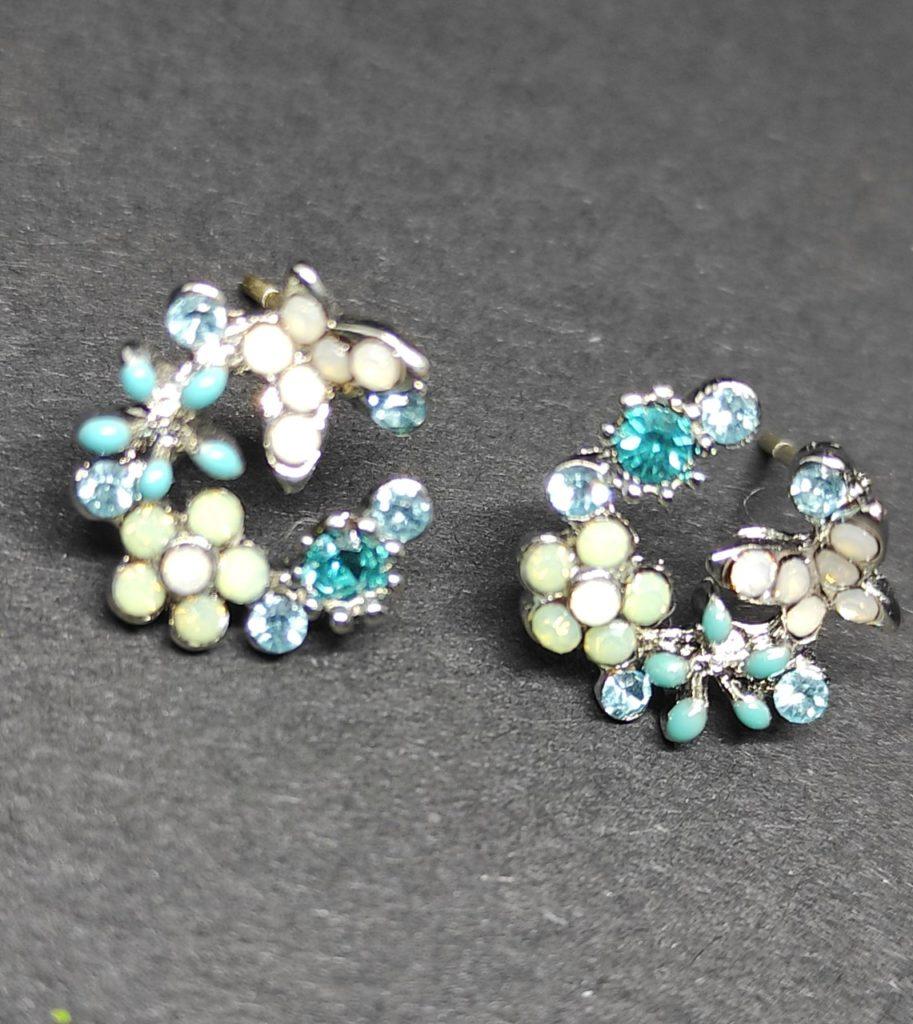 Boucle d oreilles fleurs bleu silver 925