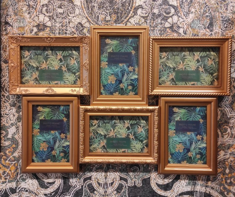 6 cadres deco ffacon baroque doré 10*15cm