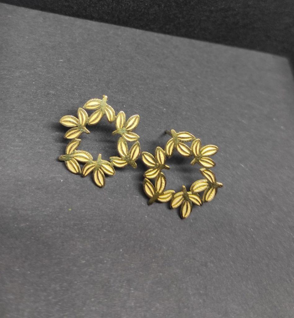 boucle d oreille ronde acier inoxydable doré