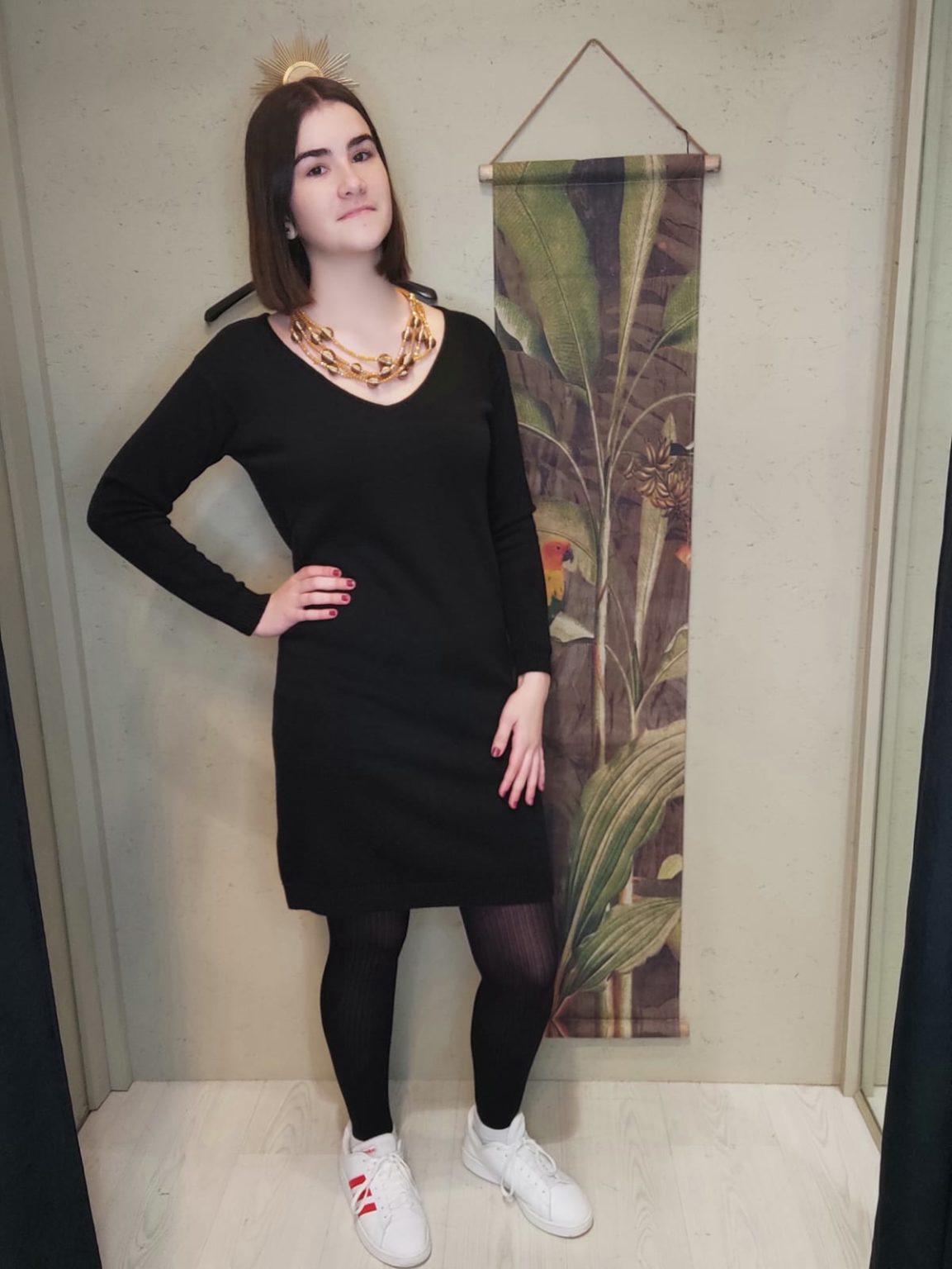 robe laine courte manche longue noir