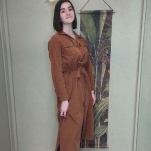 robe longue en velours camel manche longue