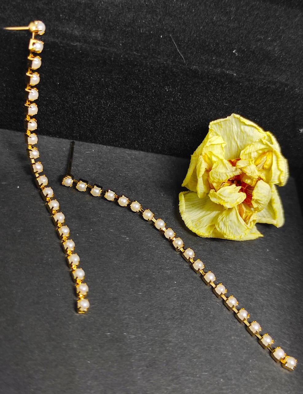 boucle d oreillesdoré en acier inoxydable avec petites perles