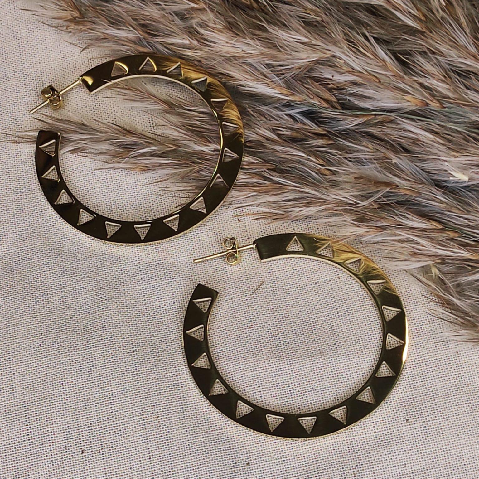 paire de bouble d oreille 3/4 cercle plat avec des rectangles incrustés doré en acier