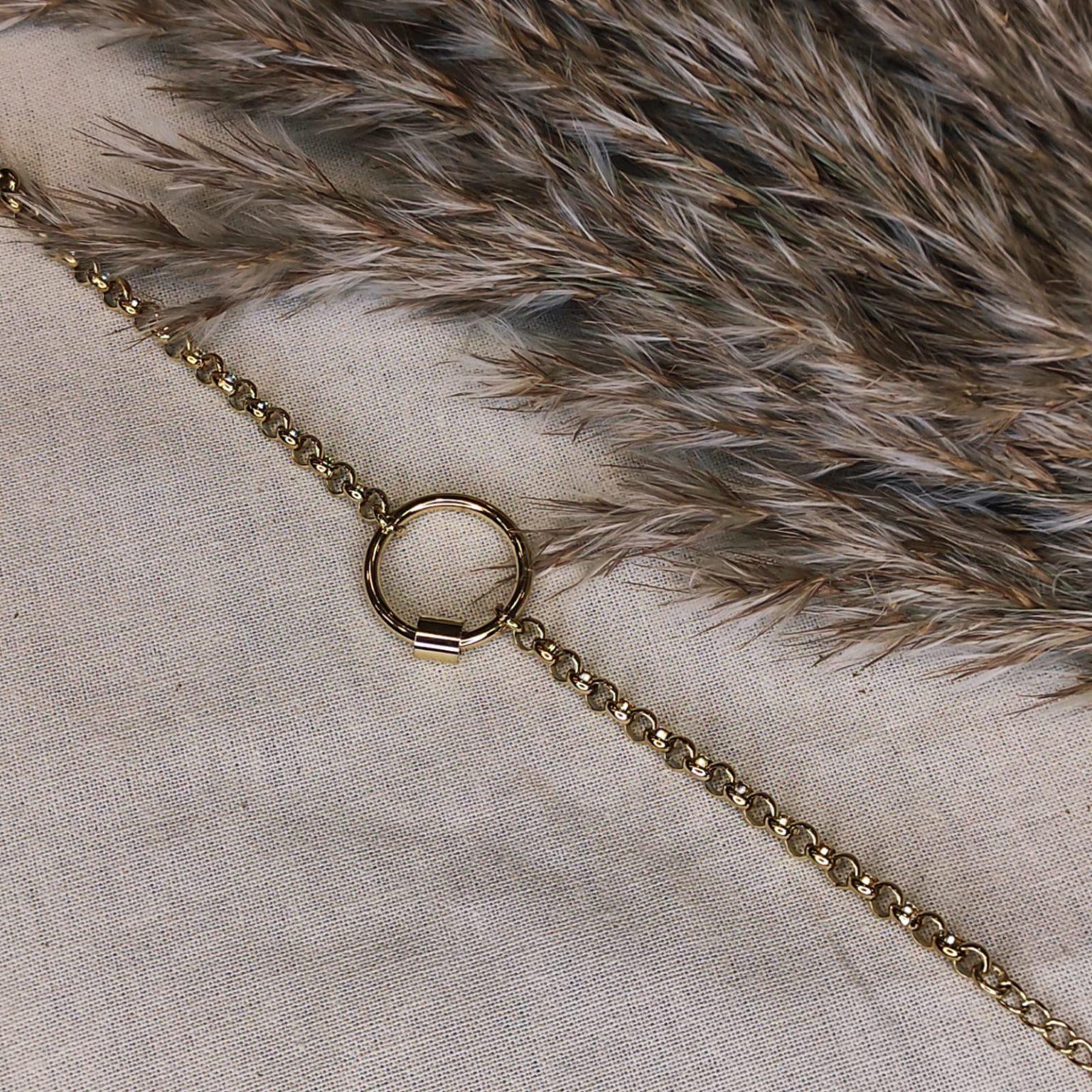 bracelet acier doré avec cercle