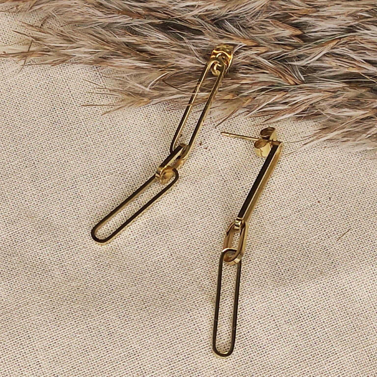 Boucle d oreilles grosse chaine doré en acier