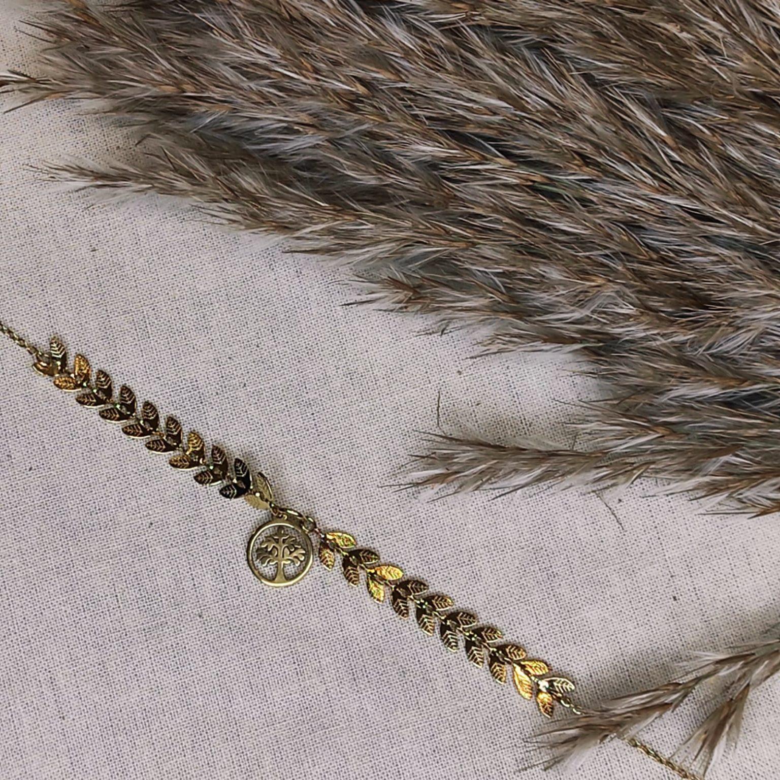 Bracelet charms arbre de vie et feuillage doré acier inoxydable