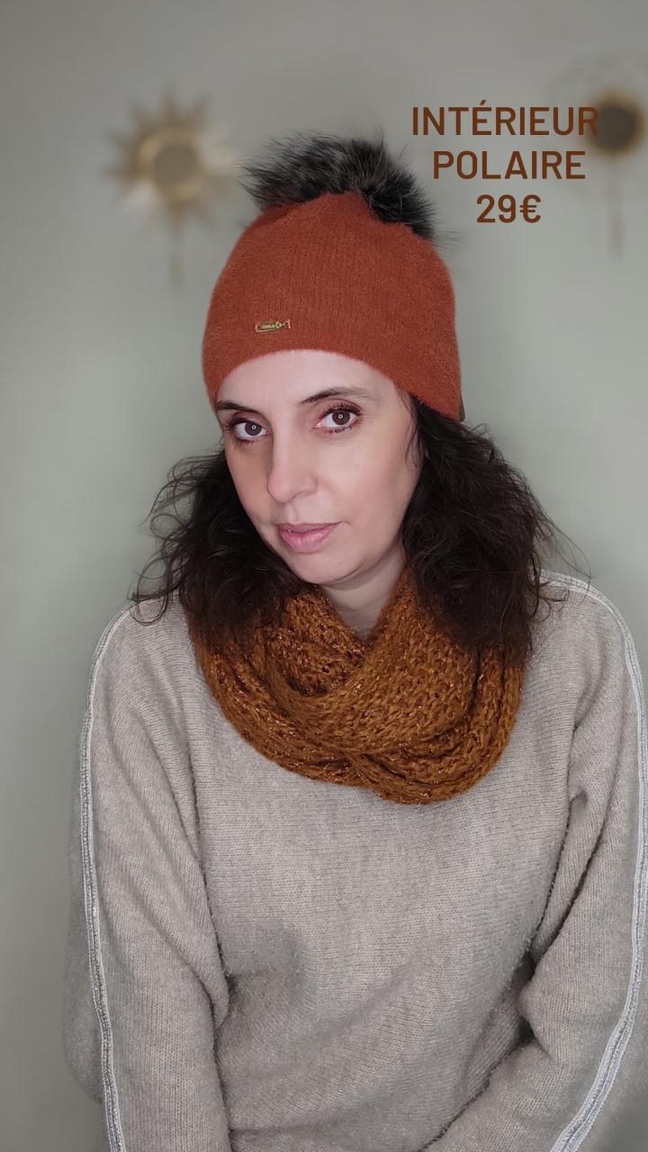 bonnet avec pompom terracota