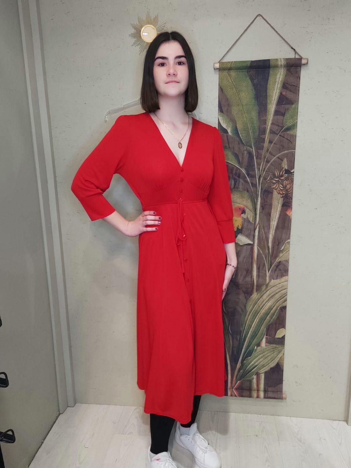 robe rouge longue manche longue