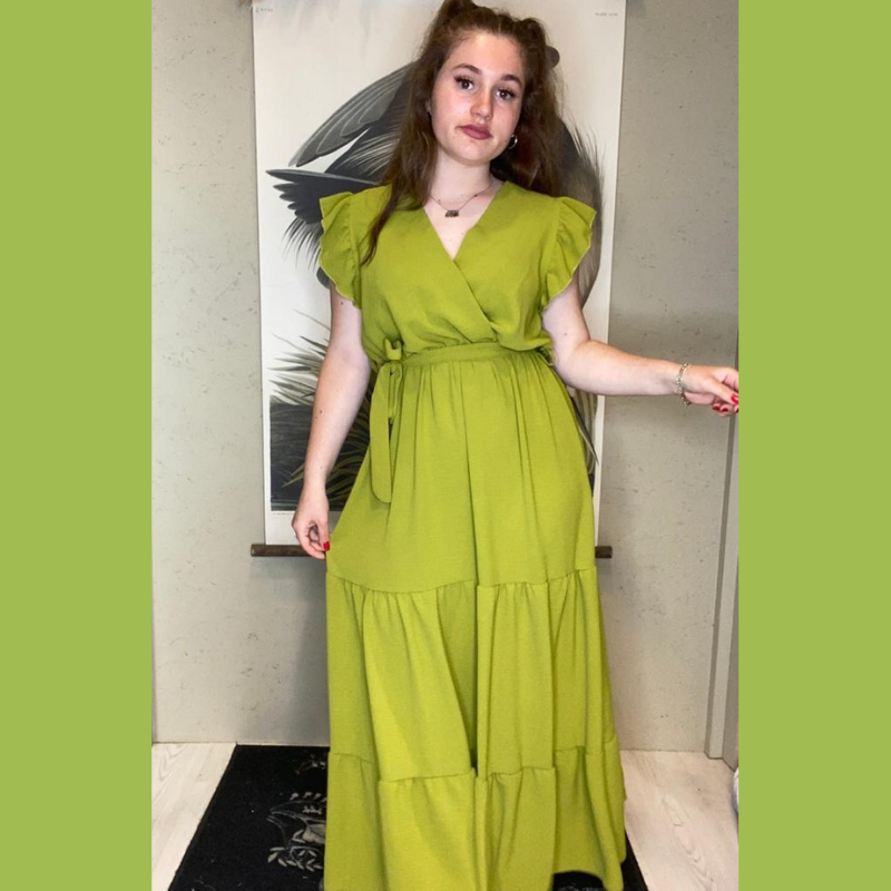 robe d été longue verte à volants